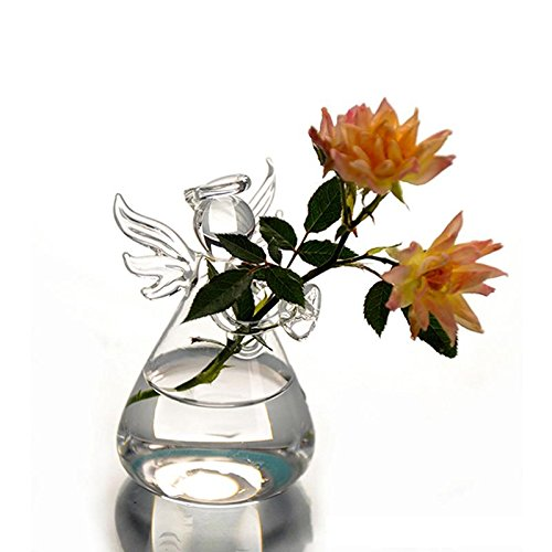 WXLAA Crystal Angel Hanging Glass Vase Planter Terrarium Container Pot Home Decor Tool