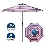 Blissun 9' Outdoor Aluminum Patio Umbrella, Market Striped Umbrella with Push Button Tilt and Crank (Flag Stripe)