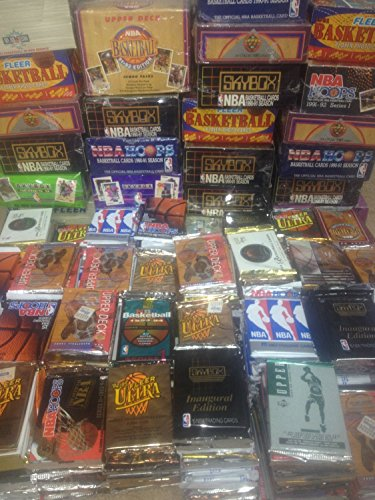 NBA Basketball (100) Cards in Sealed Wax Packs Hoops Skybox Fleer Upper Deck (Trading Card Wax Pack)