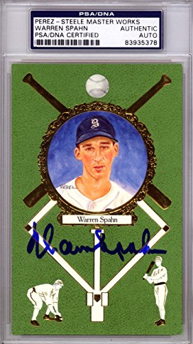 Warren Spahn Autographed Signed 1990 Perez Steele Postcard Braves #83935378 PSA/DNA Certified MLB Cut Signatures