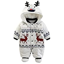Baby Boy Girl Christmas Deer Hooded Romper Warm Cotton-Padded Jumpsuit Snowsuit