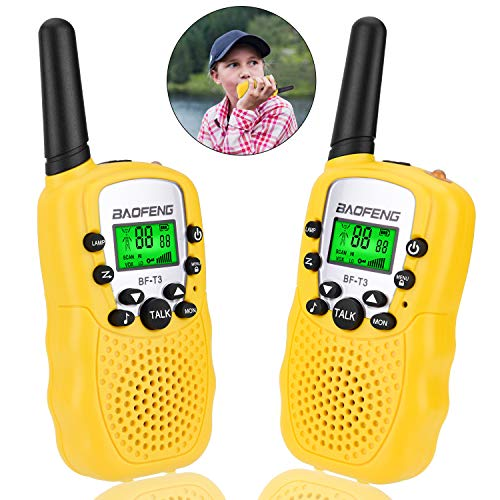 Toys for 3-12 Year Old Boys Girls, Kids Walkie Talkies 2 Way Radios for 3-12 Years Girls and Boys Birthday Xmas Best Gifts, 2 Pack, Yellow