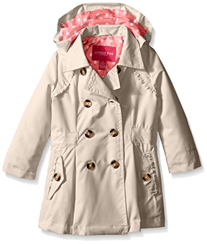 London Fog Little Girls' Toddler Lightweight Trench Coat, Khaki, 2T