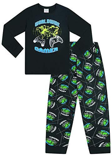 The Pyjama Factory World Wide Gamer Gaming All Over Gaming – Pijama largo de algodón, color negro y verde