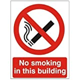 Adhesivo de prohibido fumar en este edificio autoadhesivas 150 x 200