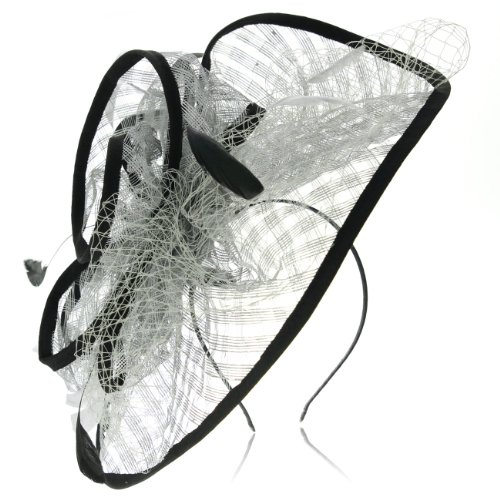 Occasion hats for Women, Wide Brimmed Fascinator for weddings or the Races, with Silver Grey Sinamay mesh, netting and dainty feathers. Stunning and Extravagant, 3 pieces Headwear, great value, Comes - By Glasses Worn Celebrities