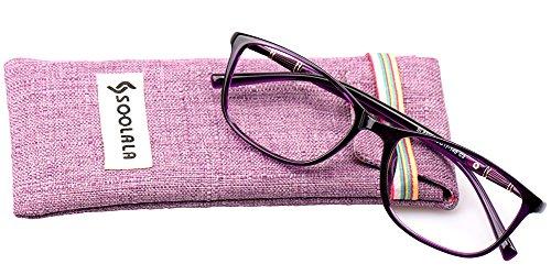 SOOLALA Lightweight TR90 Full Frame Oversized Clear Lens Eyeglasses Reading Glasses, Purple, +1.0D