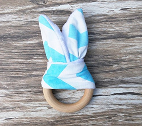 (Sky Blue) 1 pcs Retail Baby Teether Teething Ring Wood Ring Maple Teething Ring Round Natural Wood Beads Toys For Baby Smooth