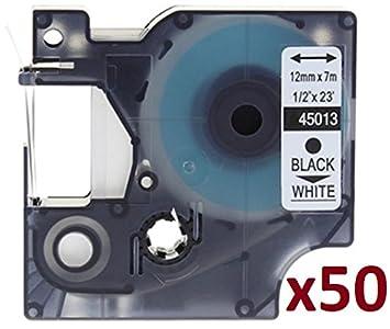 Cartridges Kingdom 10 Compatibile Nastro per Dymo D1 45013 Nero su Bianco 12mm x 7m