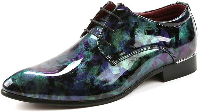 WMZQW Zapatos Oxford Hombre Cordones Charol Cuero Boda ...