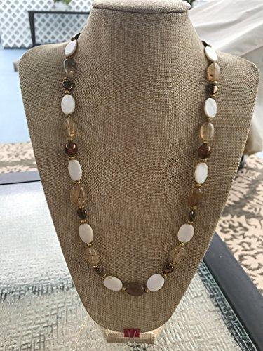 Handmade Honey Quartz, Mother of Pearl Shell, and Bronze Tone Czech Glass Hearts Long Necklace with Gold Tone Metal Spacers (Mother Of Pearl Shell Bronze)