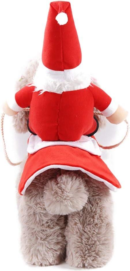 Wanyudz Hund Weihnachtsoutfit Weihnachtskost/üm Anzug Laufen Weihnachtsmann Reiten auf Haustier Katze Hund Mantel Kleiderpullover f/ür kleine gro/ße Hunde Katzen