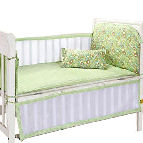 Set of 4 Nursery Baby Bassinet/Crib Bedding Bumper Kids Safety Cushion Green