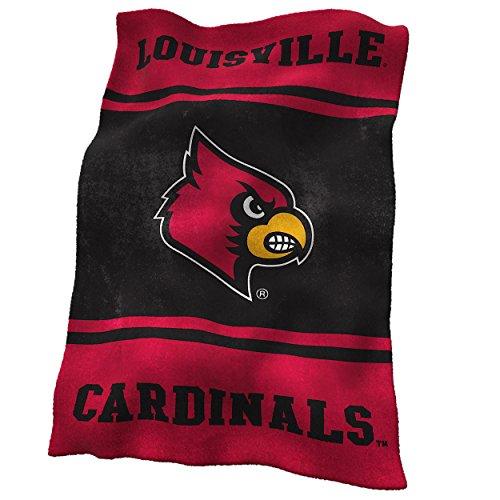 Logo Brands NCAA Louisville Cardinals Ultrasoft Blanket (Louisville Cardinals Ncaa Plush)