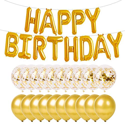 PartyMart Gold Happy Birthday Balloon with Confetti Balloons and Latex Balloon