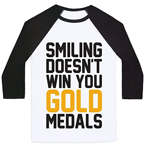 LookHUMAN Smiling Doesn't Win You Gold Medals White/Black Medium Mens/Unisex Baseball ()