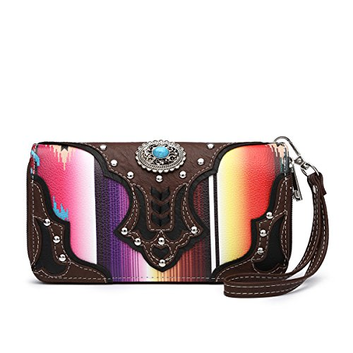 Western Wallet - Multi-Colored Serape Print With Concho Wristlet Wallet