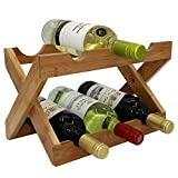 Countertop Rack Autree Natural Bamboo Foldable Countertop Wine Rack 6-bottles No Assembly Required