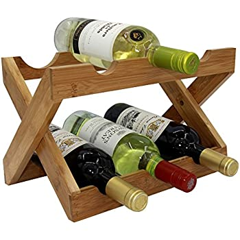 Autree Natural Bamboo Foldable Countertop Wine Rack 6 Bottles No Assembly  Required