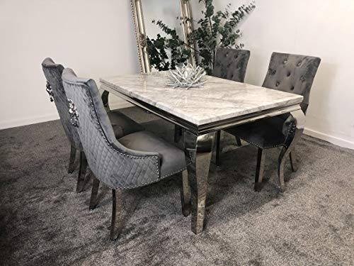Schwarze Furniture IMPERIAL GREY MARBLE MIRRORED DINING TABLE WITH 4 LION BACK KNOCKER CHAIRS SET