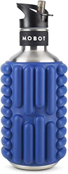 MOBOT Big Bertha 40oz 2-in-1 Foam Roller Water Bottle with Straw Workout Exercise High Performance Stainless Steel Reusable Insulated Cool Sports Water Bottles Travel Size Foam Rollers for Yoga