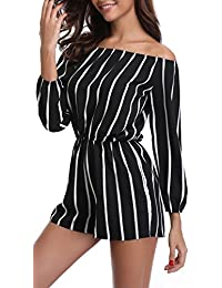Rompers Women Boat Neck Off The Shoulder Strapless Mid...
