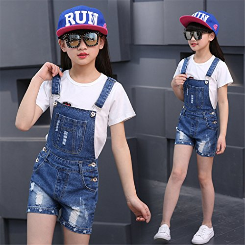 Big Girl's Denim Jumpsuit Boyfriend Jeans Cool Fashion Denim Romper Shortalls 12 Blue by Luodemiss (Image #5)
