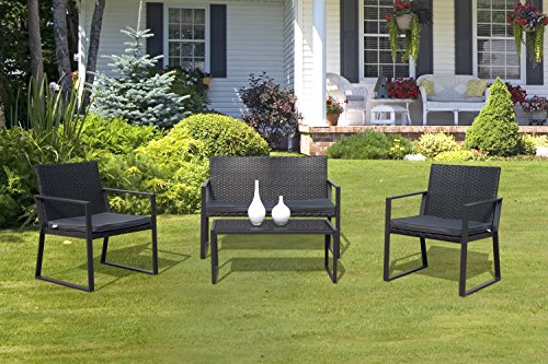 PATIOROMA 4 Pieces Patio Furniture Set Rattan Wicker Table and Chairs with Grey Seat Cushions, Outdoor PE Wicker, Black - Outdoor Dining Chair Cushions