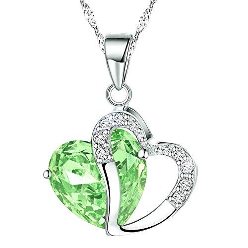 KATGI Fashion Austrian Crystals Heart Shape Pendant Necklace (Light Lime Green)