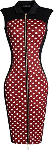 Elegante Cerniera Red Sottile Gonna Donna WKD212 Ginocchio Fascino Collare Abiti Vestito Retro jeansian AICq0x