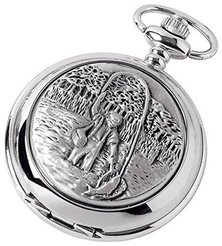 (Woodford Mens Fisherman Chrome Plated Full Hunter Quartz Pocket Watch - Silver)