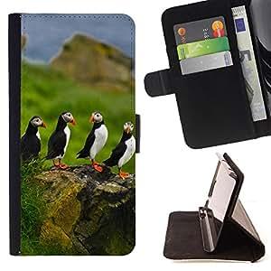 - Bird - - Monedero PU titular de la tarjeta de cr?dito de cuero cubierta de la caja de la bolsa FOR Samsung Galaxy S6 Retro Candy