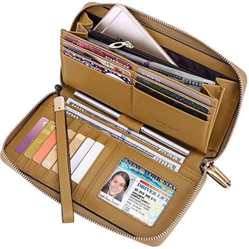 Itslife Women RFID Leather Wristlet Wallets Zip Around Phone Checkbook Card Big Clutch Large Ladies Travel Purse (Stripe Light Brown)
