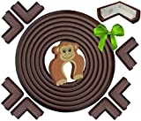 Baby : Edge & Corner Guard Set – EXTRA Long 22.0ft Coverage Incl 8 PRE-TAPED Corners - Coffee Brown - Sharp Edges Furniture Protectors, Childproof Cushion Protection - Door Slammer Guard Included