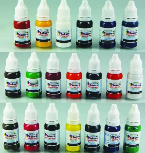 Iron Sakura Tattoo INK Pigment 20 Colors 15ml 1/2oz Each 20 inks by Iron Sakura by Iron Sakura