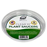 YOUniversal Products Clear Plant Saucers - 5 Pack of 10 Inch - Excellent For Indoor & Outdoor Plants