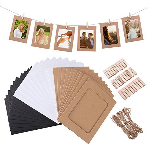 VORCOOL 30pcs Kraft Paper Photo Frames Hanging Wall Decoration DIY with Clips and Ropes for 4x6in Pictures ()