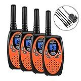 Walkie Talkies, 4 Pack Walkie Talkies Rechargeable, Befove 22CH Handheld FRS Transceiver Two Way Radios Long Range Walkie Talkie Kids for Kids Adults Orange