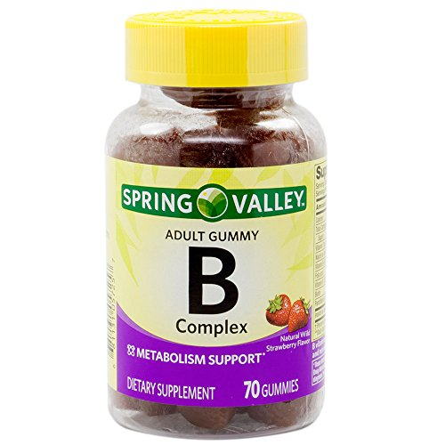 Spring Valley B-Complex Adult Gummy 70 Count – Natural Wild Strawberry Flavor (Packaging May Vary)