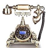 FADACAI Antique phone Retro fixed seat machine Home European style Blue screen Caller ID , gold