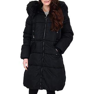 Steve Madden Women's Puffer Jacket, Faux Fur Hood Black, X-Large