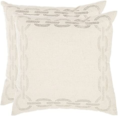 Safavieh Pillows Collection Sibine Decorative Pillow, 22-Inch, Cement, Set of 2