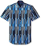Bugatchi Men's Fitted Digital Stripes Printed Short Sleeve Cotton Shirt, Classic Blue, XXL