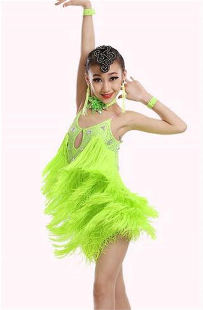Vert peiwen Les Filles des Spectacles de Danse Latine Robe frangée Enfant scène Spectacle de Danse Jupe vêtements de Formation de Danse 160cm