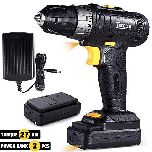 Cordless Drill Driver, Professional 2pcs 2.0Ah Batteries/Power Source, 3/8″ Chuck Max, Torque 240In-lbs, 20+1 Position, LED Light, 27pcs Accessories -TECCPO TDCD02P Review