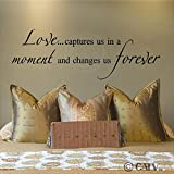 Love...captures us in a moment and changes us forever Vinyl Lettering Wall Quote Decal Sticker