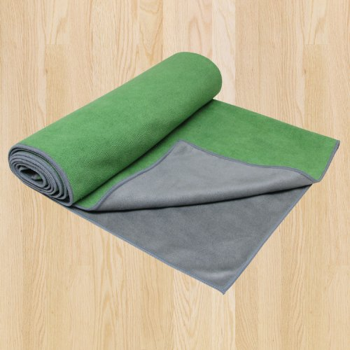 Gaiam Dual-Grip Yoga Mat Towel, Green Vine/Charcoal