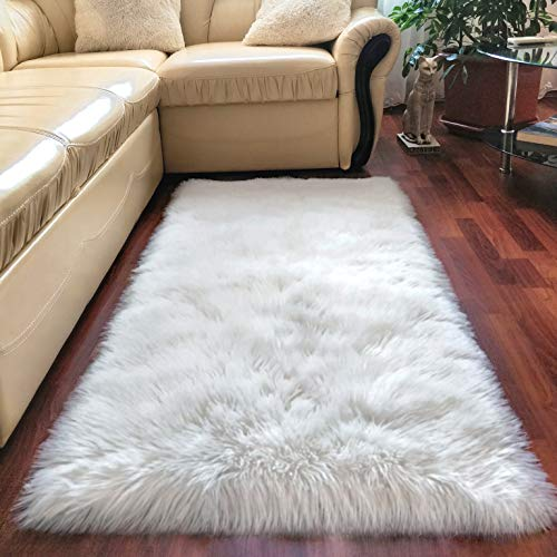 Premium Faux Sheepskin Rug White - 2.3x5 feet - Best Extra Long Shag Pile Carpet For Bedroom Floor Sofa - Soft Fur Area Rug