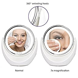 7x Magnifying LED Makeup Mirror Vanity Mirror Fogless Tabletop 360° Swivel Chromed with Cold LED Lights, Wireless Portable Lighted Cosmetic Mirror perfect for Shaving Flossing or Travel, 8-inch