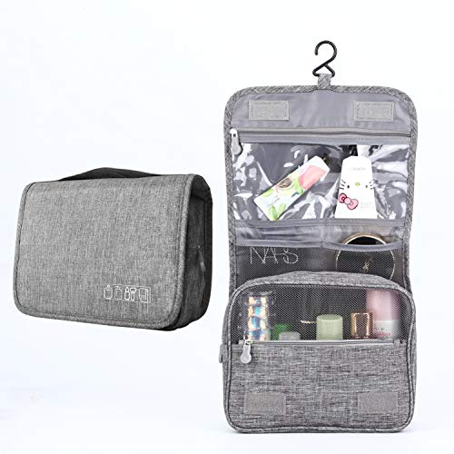 Hanging Travel Toiletry Bag Cosmetic Make up Organizer for Women and Girls Waterproof (Gray)